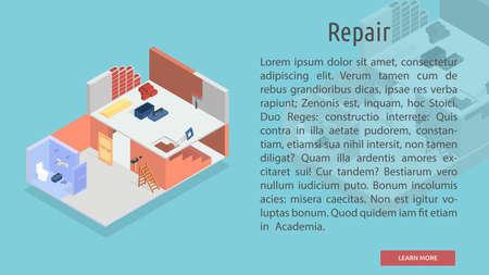 Isometrische reparatie conceptuele Banner
