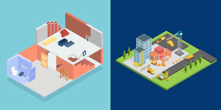 Isometric Set vector illustration.