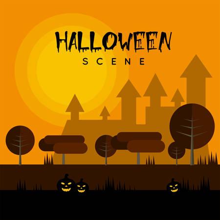 Halloween Scene vector illustration. Ilustração