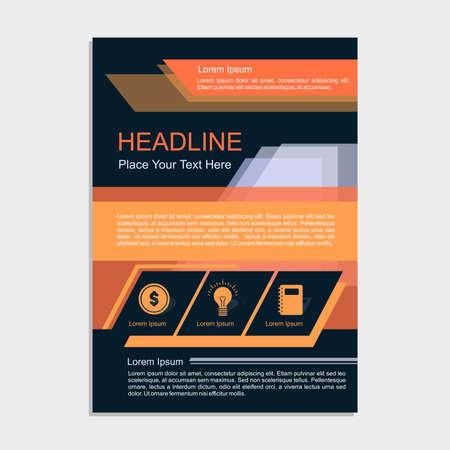blank magazine: Orange Night Sky Proposal Vector illustration.