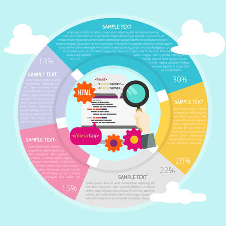 SEO Tag Optimation Infographic Vector illustration. 向量圖像