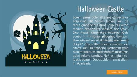 Halloween Castle Conceptual Banner Ilustração