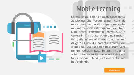 Mobile learning conceptual banner.