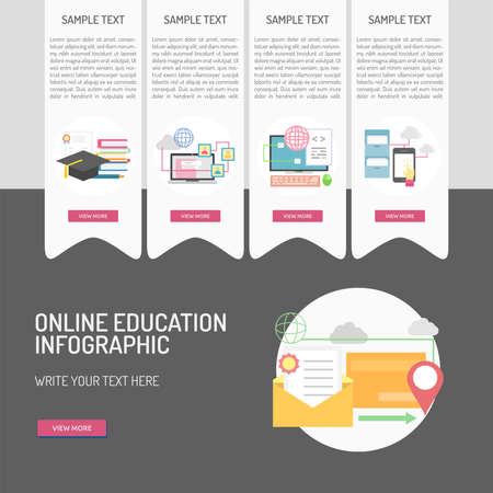E-Learning and Online Education infographic 向量圖像