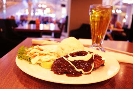 chicken cordon bleu, Indonesia Food |Asian Food Stock Photo