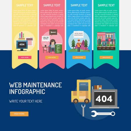 Web Maintenance Infographic Vector illustration.
