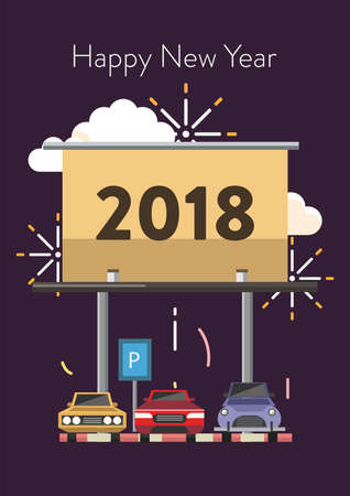 Poster design for New Year vector illustration