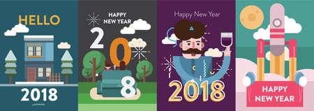Poster Happy New Year  イラスト・ベクター素材