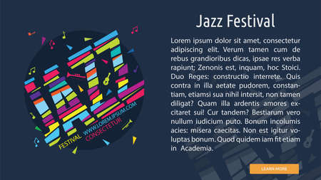 Jazz Festival banner with music notes and copy space for text illustration.