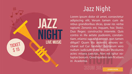 Jazz Night banner with trumpet and copy space for text illustration.