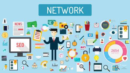 Network illustration Stock Illustratie