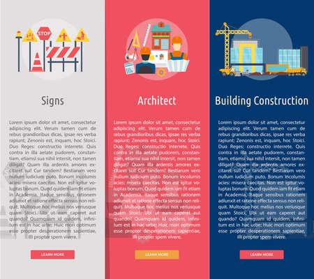 Building and Construction Vertical Banner Concept Vector illustration. Ilustração