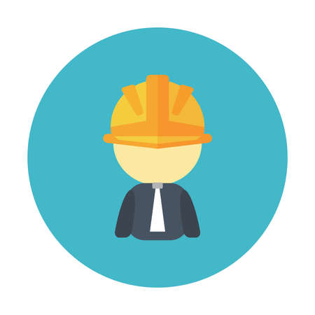 Builder Character with hardhat in round label