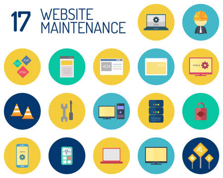 Web Maintenance  icons such as road signs, gear and laptop Stockfoto - 96447921