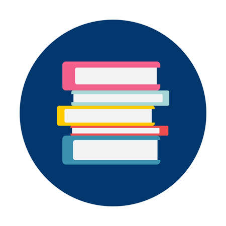 Books on blue button isolated vector illustration