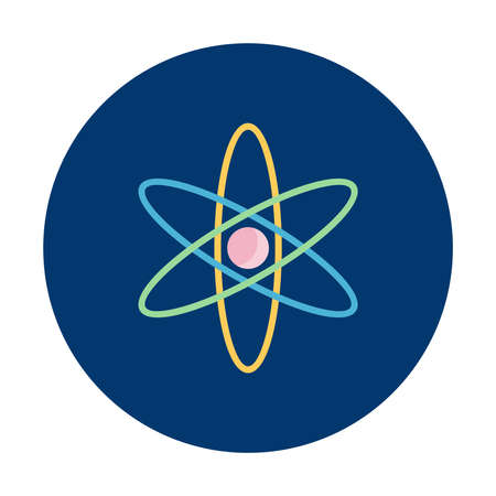 Science iconic logo on blue button isolated vector illustration