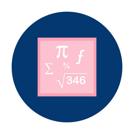 Mathematics formula inscription on blue button isolated vector illustration