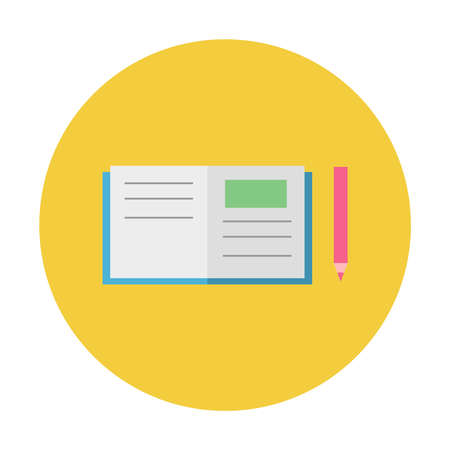 Book and pencil symbol and icon design on yellow circle button isolated vector illustration