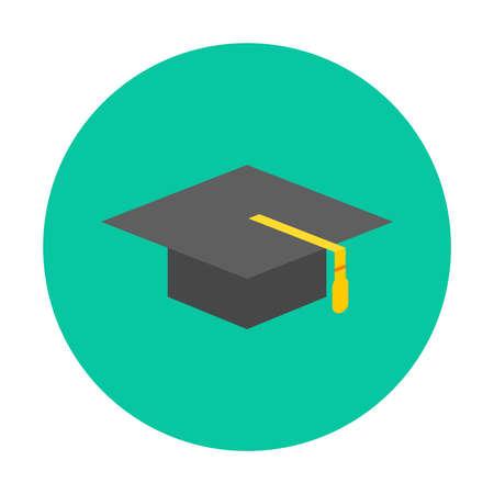 Graduation iconic symbol design on green circle button isolated vector illustration Illustration