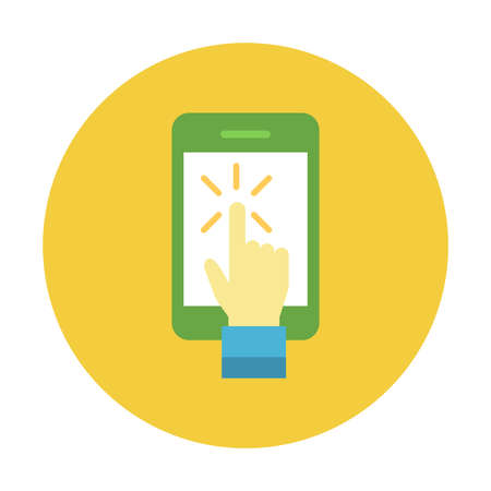 Mobile click icon and symbol design on yellow circle button isolated vector illustration