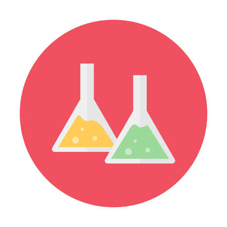 Chemistry experiment icon and symbol flat design on red circle button isolated vector illustration