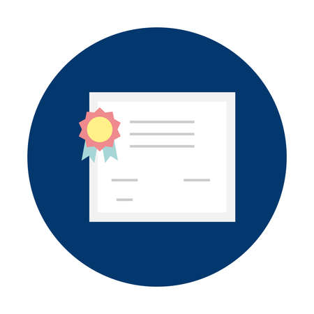 Certificate iconic symbol on blue circle button isolated vector illustration