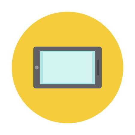 Tablet iconic symbol of technology on yellow circle button isolated vector illustration