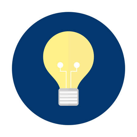 Lamp iconic symbol of idea on blue circle button isolated vector illustration
