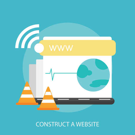Construct A Website with icons such as laptops and cone Illustration