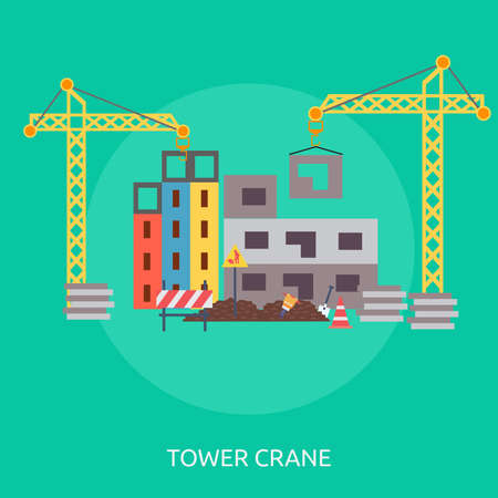 Tower Crane laying blocks to a building illustration