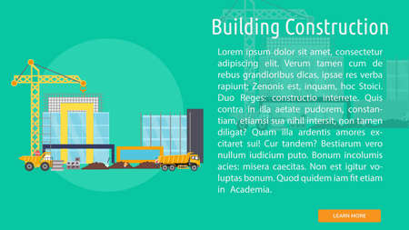 Building Construction Conceptual Design with crane in building