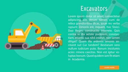 Excavator Conceptual Design with bulldozer and trucks