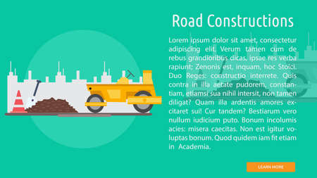 Road Construction with trucks and cones Conceptual Design