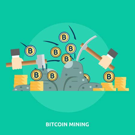 Bitcoin Mining illustration on green background.