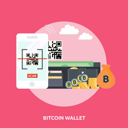 Bitcoin Wallet with phone scanner on pink background.