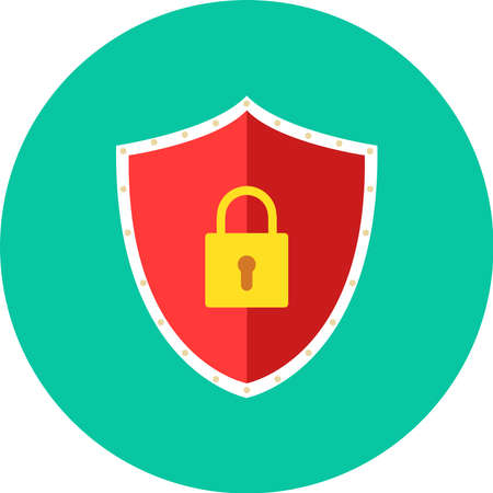Security icon with padlock on red shield. Vector illustration.
