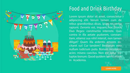 Food and Drink Birthday Conceptual Banner
