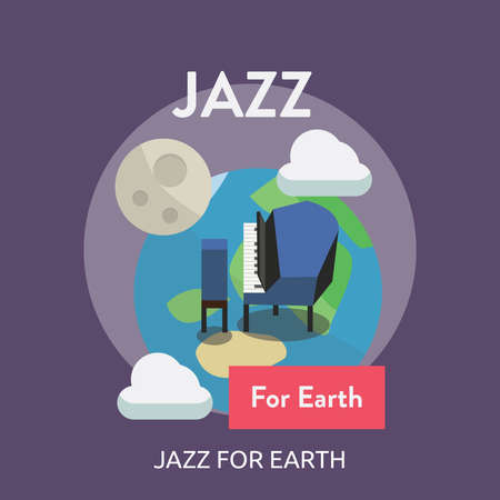 Jazz For Earth Conceptual Design, with a piano set for a banner or poster background