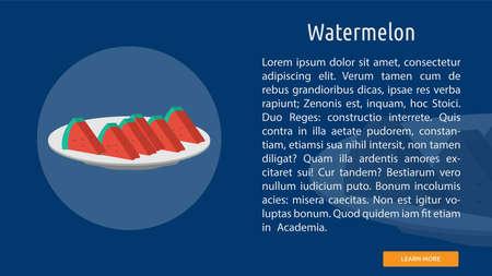 Sliced watermelon icon illustration. Çizim