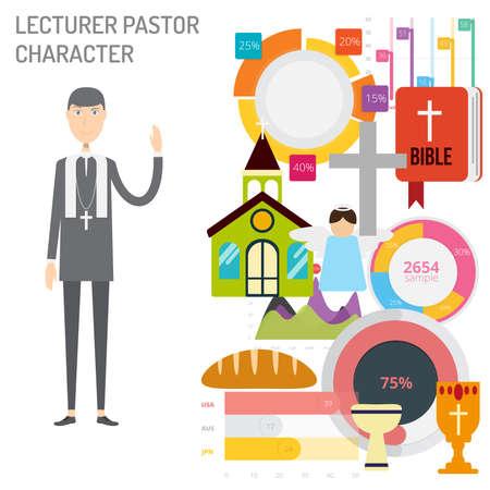 Lecturer Pastor Character vector illustration