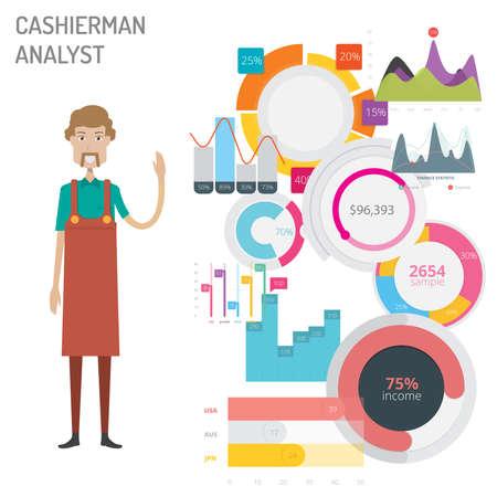 Cashierman Analyst vector illustration