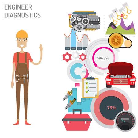 Engineer Diagnostics vector illustration