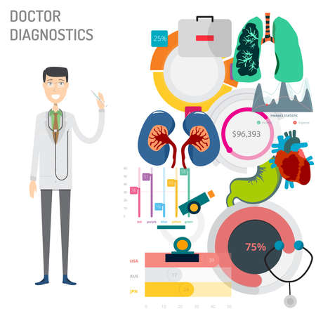 Doctor Diagnostics vector illustration Vettoriali