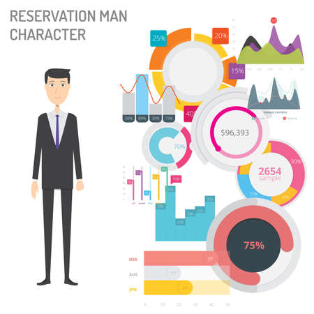 Reservation Man Character concept vector illustration