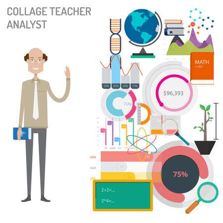 College Teacher Analyst concept vector illustration Stock Vector - 100909975