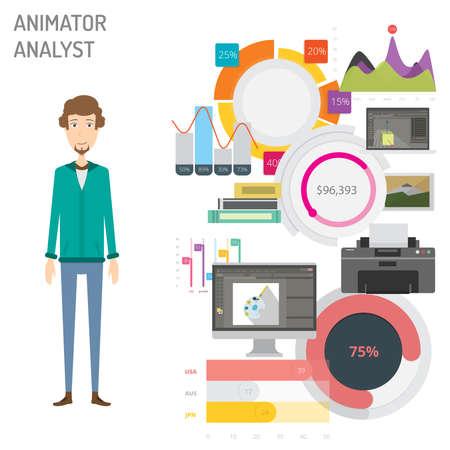 Illustration vectorielle d'animateur analyste concept