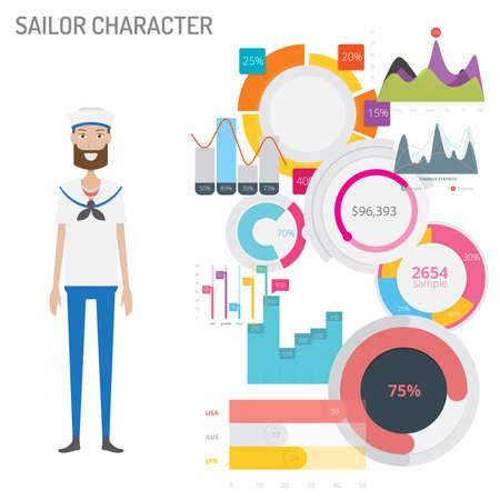 Sailor Character concept vector illustration Vettoriali