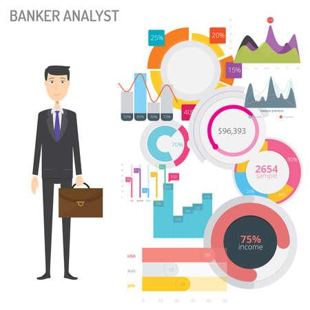 Banker Analyst concept vector illustration