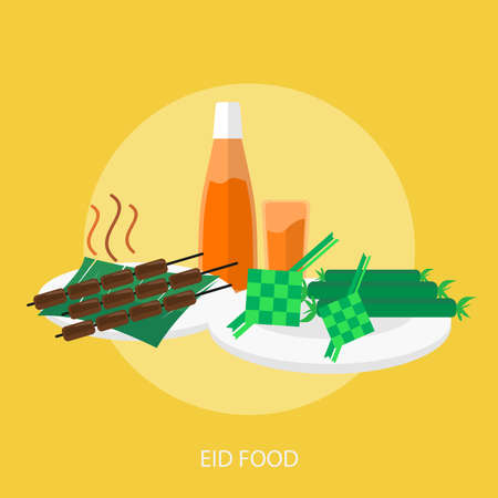 Eid Food on yellow background.