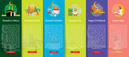 Ramadan and Eid Mubarak Vertical Banner Concept Illustration